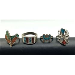 4  RINGS WITH TURQUOISE AND RED