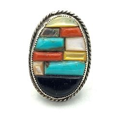 SZ 11 STERLING RING WITH NAVAJO/ZUNI