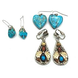 3 PAIRS OF STERLING TURQUOISE EARRINGS