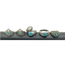 5 RINGS W TURQUOISE STONES .925 SZ 8-9