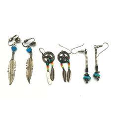 3 PAIRS OF NAVAJO EARRINGS, MULTI COLOR/