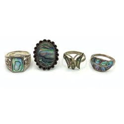 4 STERLING ABALONE INLAY RINGS SZ 6-8
