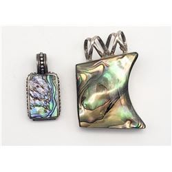2 ABALONE INLAY PENDANTS STERLING