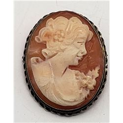 800 STERLING SEA SHELL CAMEO PENDANT/BROOCH