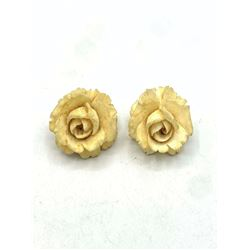 BONE OR IVORY FLOWER CLIP ON EARRINGS