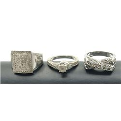3  RINGS .925 SIZE 7 EYE CATCHING! MARCASITE