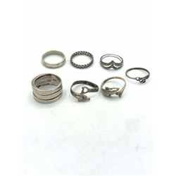 7 STERLING RINGS WITH NO STONES SZ 6
