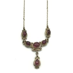 VINTAGE STERLING NECKLACE W PURPLE STONES