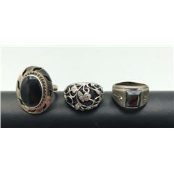 3 BLACK STONE RINGS LARGE STONES STERLING