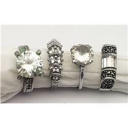 4 STUNNING STERLING RINGS!! SIZES 6-8