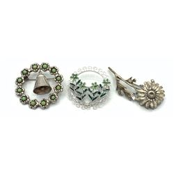 3 BROOCHES VINTAGE- FLORAL, BELL, GREEN