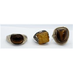 3-VINTAGE STERLING TIGER EYE RINGS