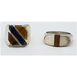 2-MEN'S STERLING RINGS WITH TIGER EYE AND DEEP
