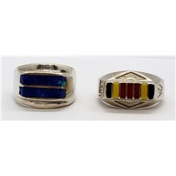 2-STERLING MEN'S RINGS (1)MARKED MEXICO WITH