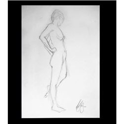 Impressionist Standing Nude Signed Drawing