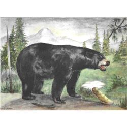 1920's Black Bear Color Lithograph Print
