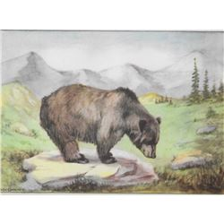 1920's Grizzly Bear, Color Lithograph Print