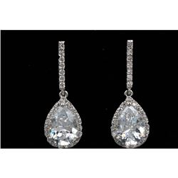 Pear Shaped Cubic Zirconia 18kt Gold Plate Earrings