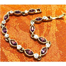 Amethyst & Crystal Gold Plated Bracelet