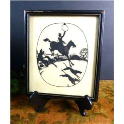 Early 1900's Signed Fox Hunt Silhouette