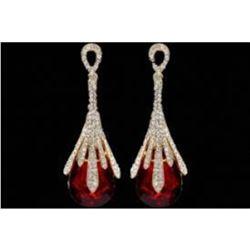 Red Crystal & Rhinestone Costume Drop Dangle Earrings