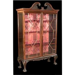 c.1890 Chippendale-style Mahogany Bookcase Cabinet