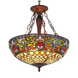 Tiffany-style Stained Glass Inverted Ceiling Pendant