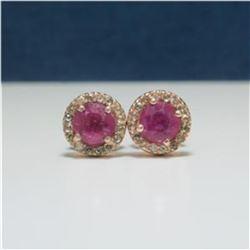 2ctw Sapphire & Diamond Sterling Post Earrings