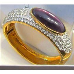 Purple Crystal Rhineston Hinged Bangle Bracelet