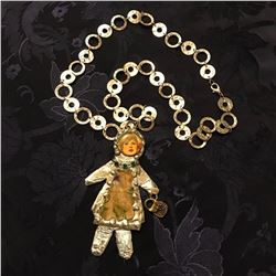 Artisan Made Repurposed Doll Collage Necklace