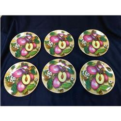 Set of Limoges Porcelain Plum Fruit Dessert Plates