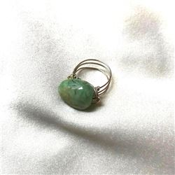 Artisan Natural Emerald Polished Gemstone Sterling Wire Ring