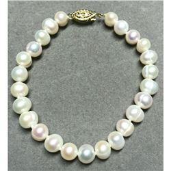 7-8mm Pearl 14kt Gold Bracelet