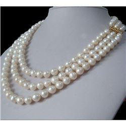 "3 Row Strands Natural 9-8mm Akoya White Pearl 18"" Necklace"