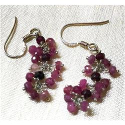 Faceted Natural Ruby Gemstone & Sterling Silver Dangle Hook Style Earrings