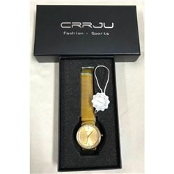 Stainless Steel Gold & Crystal Wristwatch