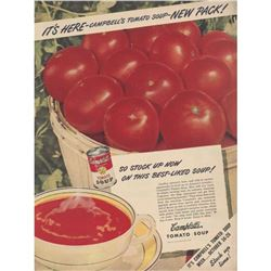 1940's Campbell's Tomato Soup Advertisement, Kitchen Pantry Decoration
