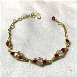 Artisan-made Crystal & Gold Wire Bracelet