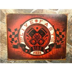 Live Fast Ride Free Metal Garage Pub Bar Sign
