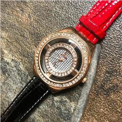 Rose Gold Over Stainless Steel Crystal Wristwatch