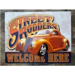 Street Rodders Welcome Here Metal Garage Pub Bar Sign