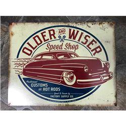 Older & Wiser Speed Shop Custom Hot Rods Metal Garage Pub Bar Sign