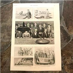 Late 19thc Print, A Day At Monte Carlo, Casino Croupiers, Roulette, Gambling