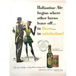 1951 Ballantine Ale Ice Skating Magazine Ad