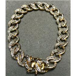 Gold & Sterling Diamond Chip Link Bracelet