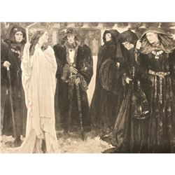 Early 1900's Lithograph Print,The Penance of Eleanor, Duchess of Gloucester, Sorcerer, Witchcraft