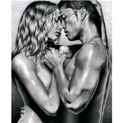 """Original Signed Drawing, """"The Kiss"""" Erotic Nude Subject"""