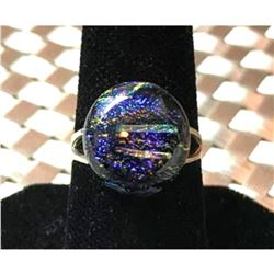 Artisan Made Dichroic Glass Sterling Silver Ring