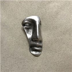 Modern Abstract Silver Plated Face Brooch Pin