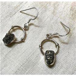 Natural Gemstone Mine Pyrite Chunks Sterling Silver Earrings